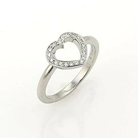 Tiffany & Co. Diamonds Platinum Open Heart Ring Size 4