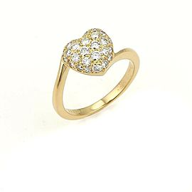 Cartier Diamond Heart 18 Yellow Gold Ring Size 50