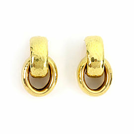 Tiffany & Co. Picasso 18k Yellow Gold Hammered Double Oval Hoop Dangle Earrings