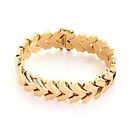 Retro 18k Yellow Gold 18.5mm Wide Fancy Flex Link Bracelet