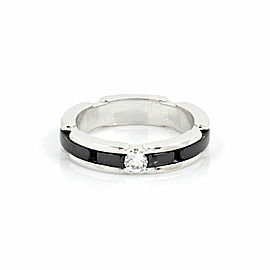 Chanel Ultra Diamond 18k White Gold & Black Ceramic 4mm Wide Band Ring Size 5