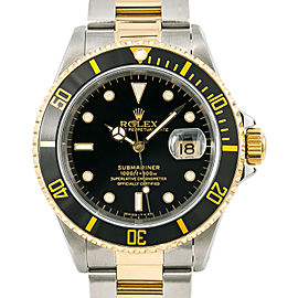 Rolex Submariner 16613 Men Watch Automatic Black Dial 18k Two Tone 40mm