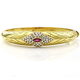 Fred of Paris 18k Yellow Gold Ruby Diamond Bangle Bracelet