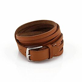Hermes Brown Leather Multi Stripes Wide Long Belt & Buckle Bracelet