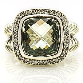 David Yurman Sterling Silver 11mm Prasiolite Diamonds Albion Ring