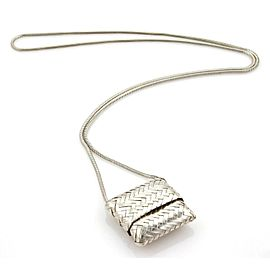 Tiffany & Co. Sterling Silver Slide Cover Basket Weave Bag Snake Necklace