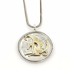Konstantino Pegasus Carved Round Pendant 18k Yellow Gold & Sterling Necklace