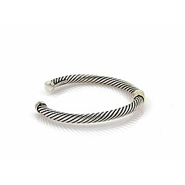 David Yurman Single Bar Cable Sterling & 14k Yellow Gold Cuff Bangle Bracelet