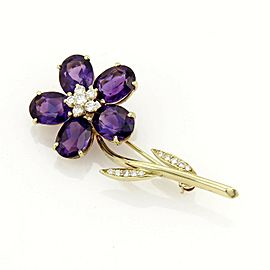 Tiffany & Co. Diamond Amethyst Flower 18k Yellow Gold Pin Brooch