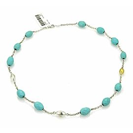 Gurhan Galapagos Turquoise Sterling & 24k Layered Gold Beaded Necklace