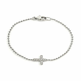 Gucci Diamond Sideway Cross Charm Bead Chain Bracelet