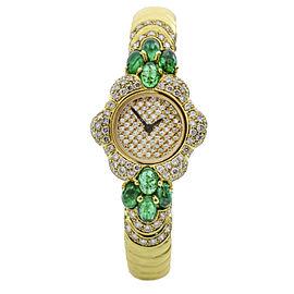 Giovane 7.00 Carat 18k Yellow Gold Emerald Diamond Bangle Watch