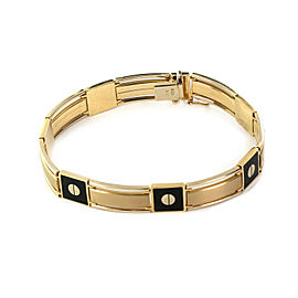 "Onyx Inlay Screw Motif Bar Link 14k Two Tone Gold Men's Bracelet 8.25"" Long"