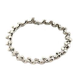 San Marco 14k White Gold Diamond Cut Design Macaroni Link Bracelet
