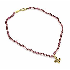 Lee Brevard Tourmaline 18k Yellow Gold Cross Pendant Bead Toggle Necklace