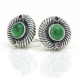 David Yurman Sterling Silver Renaissance Round Green Onyx Rhodolite Earrings