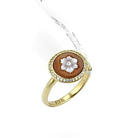 Ippolita Diamond Shell Cameo Flower 18k Gold Round Ring