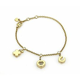 Chopard Happy Diamond 18k Yellow Gold 3 Charms Chain Bracelet