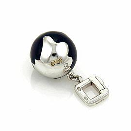Louis Vuitton 18k White Gold Lapis & Diamond Globe Charm Pendant