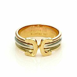 Cartier Double C 18k Tri-Color Gold 5.5mm Wide Cuff Band Ring Size 50US 5