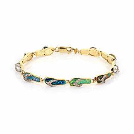 Diamond Multicolor Opal 10 Flip Flop Slipper 14k Two Tone Gold Charm Bracelet