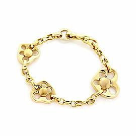Il Gioiello 18k Yellow Gold Triple Hearts Charm Chain Bracelet