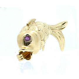 14k Yellow Gold Fish Ruby Pendant Charm