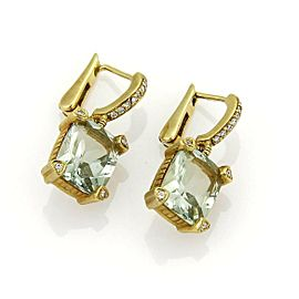 Judith Ripka Prasiolite & Diamonds 18k Yellow Gold Drop Dangle Earrings