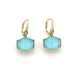 Stephen Webster DECO Blue Quartz & Diamond 18k Gold Octagon Dangle Earrings