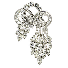 19.24 Carat Platinum 1950s Aria Diamond Brooch