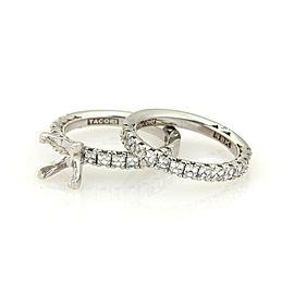 Tacori Asher Cut Diamond Engagement Semi Mount 18k Wedding Band & Ring Set