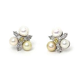 Estate Diamond & Pearls 14k White Gold Floral Stud Earrings