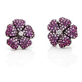 3.95 Carat 18k White Gold Pink Sapphire Diamond Flower Stud Earrings