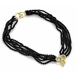 Tiffany & Co. 18k Yellow Gold Bow Pendant Multi-Strand Onyx Bead Necklace