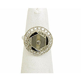 Estate Bayard Brogan Diamond Camphor Glass & Onyx 14k Gold Ring