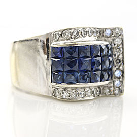 2.95 Carat 18k White Gold Mystery Set Sapphire Diamond Ring