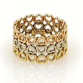 Tiffany & Co. Picasso 18k Tri Gold Crown of Hearts 3 Rows Band Ring Size 5