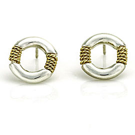 Tiffany & Co. Sterling Silver 18k Gold Rope Circle Stud Earrings