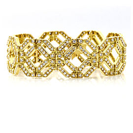 8.25 Carat 18k Yellow Gold Diamond Octagon Link Bracelet