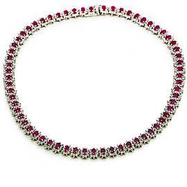 28.00 Carat 14k White Gold Burma Ruby Diamond Tennis Necklace GemLab Appraisal