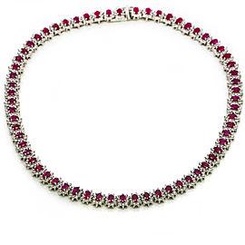 28.00 Carat 14k White Gold Burma Ruby Diamond Tennis Necklace GemLab Appraisal