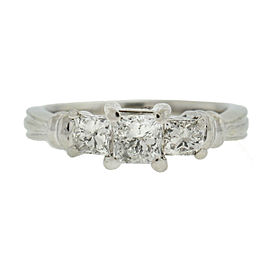 Platinum Three-Stone Princess Cut Diamond Ring Approx. .90 TCW