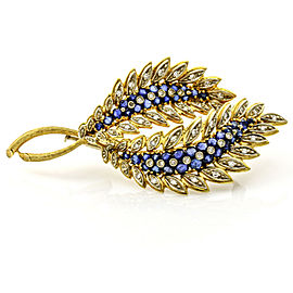 1.50 Carat 18k Gold Sapphire Diamond Double Leaf Brooch