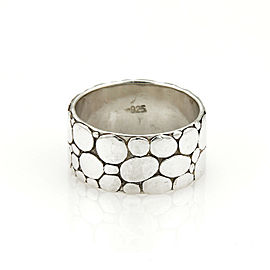 John Hardy Kali Pebble 11mm Wide Sterling Silver Band Ring - Size 10