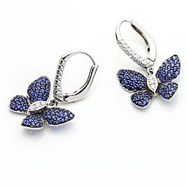2.00 Carat 18k White Gold Sapphire Diamond Butterfly Dangle Earrings