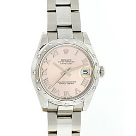Rolex Datejust 31 Pink Dial White Gold Diamond Bezel Automatic Ladies Watch