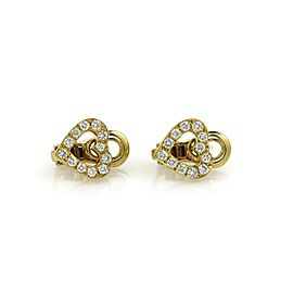 Bulgari Diamond 18k Yellow Gold Hearts Post Clip Earrings