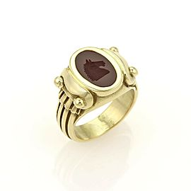 Kieselstein-Cord Blood stone Horse Intaglio 18k Yellow Gold Signet Ring