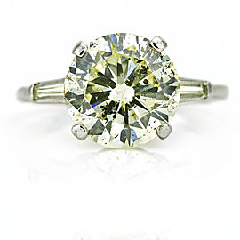 4.90 Carat 14k White Gold Round Diamond Solitaire Engagement Ring