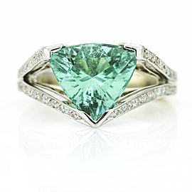 3.70 Carat 18k White Gold AGL Certified Trillion Paraiba Tourmaline Diamond Ring